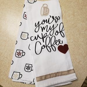 Set of 2 Coffee / Winter Kitchen Towels